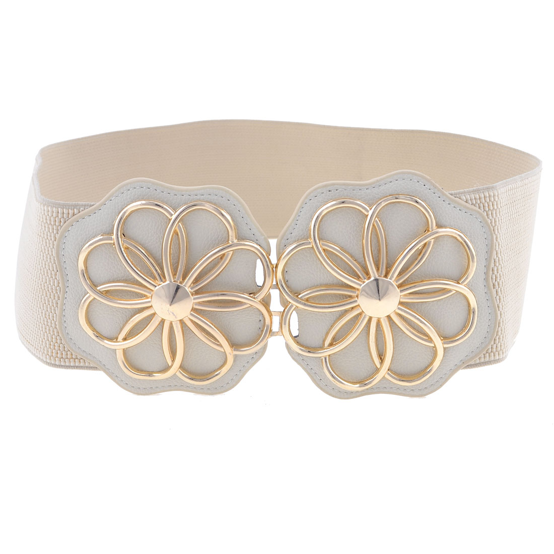 Women Khaki Gold Tone Double Florals Interlocking Closure Elastic Waistbelt Waist Belt