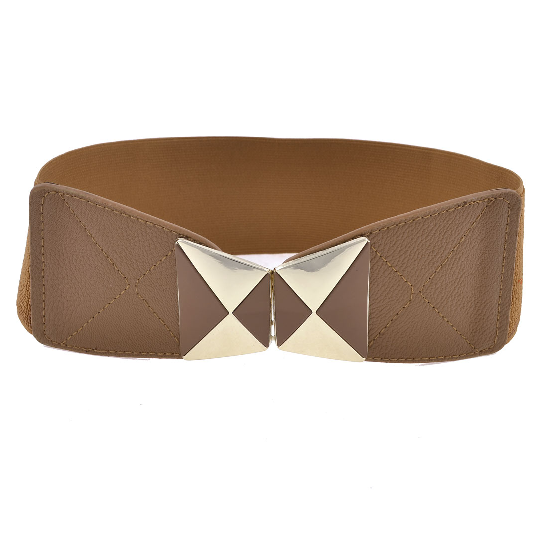 Lady Brown Gold Tone Dual Trapezoid Interlock Buckle Faux Leather Stretchy Waist Belt