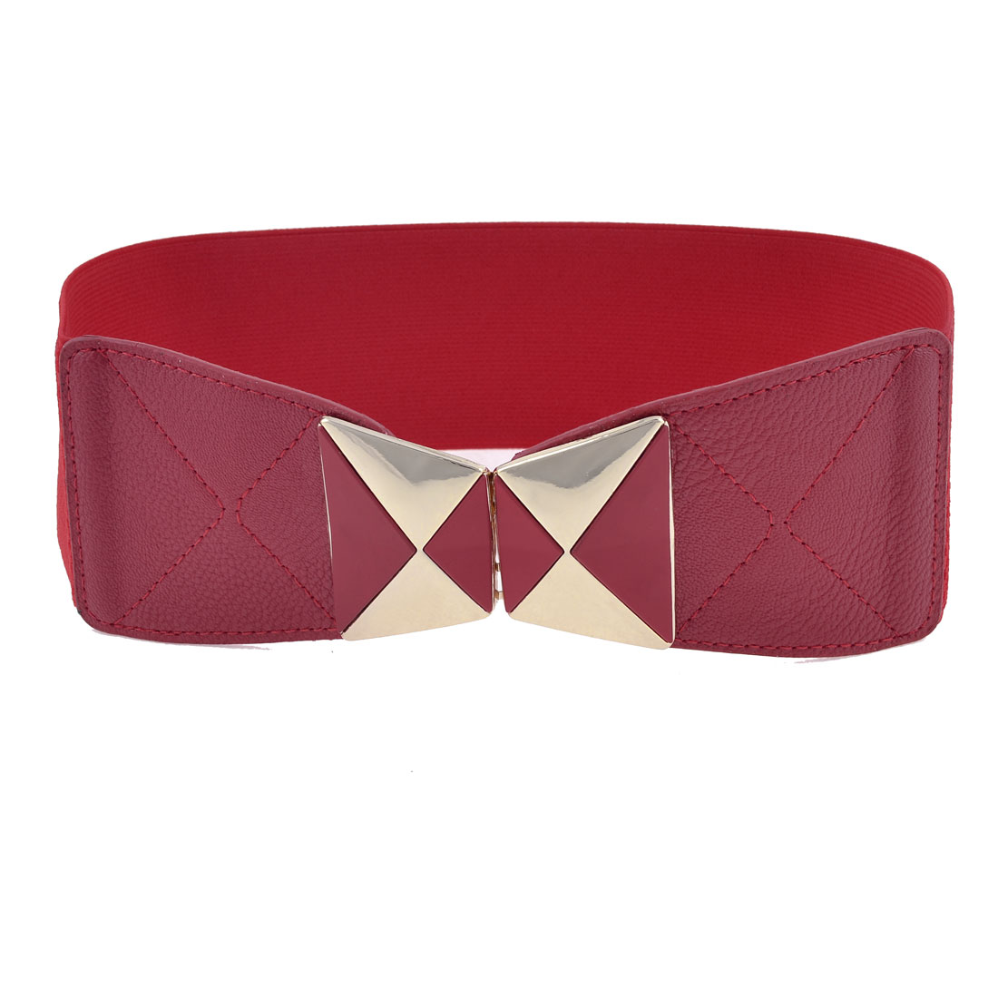 Dual Trapezoid Interlocking Closure Elastic Waistbelt Waist Belt Red for Woman