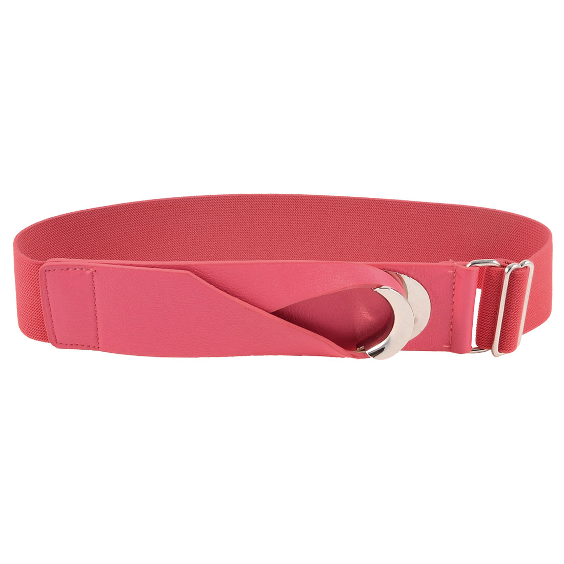 Interlocking Closure Watermelon Red Faux Leather Adjustable Stretchy Waist Belt for Women