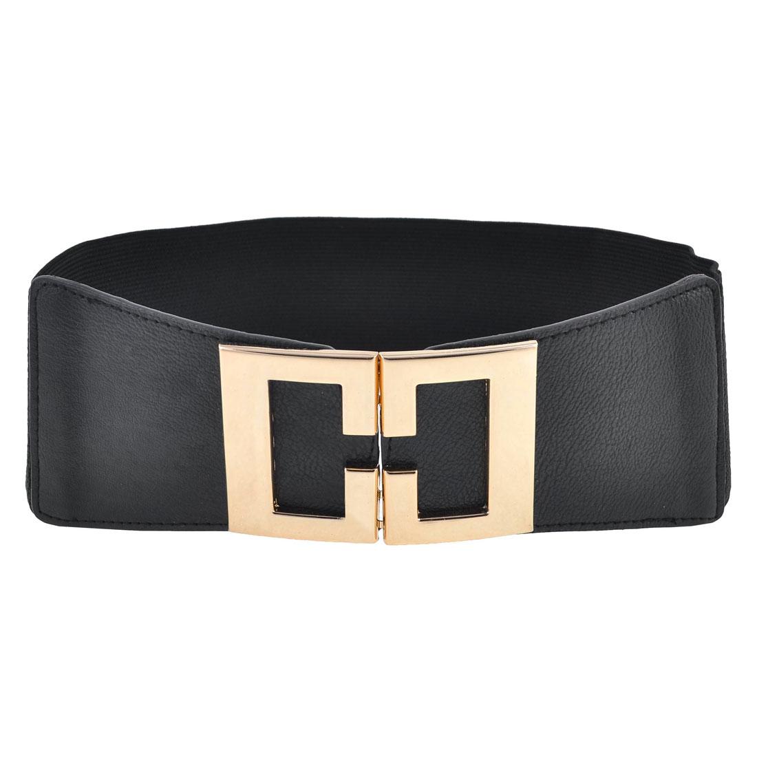 Woman Black Gold Tone Mirrored Interlocking Buckle Stretch Waistband Cinch Belt