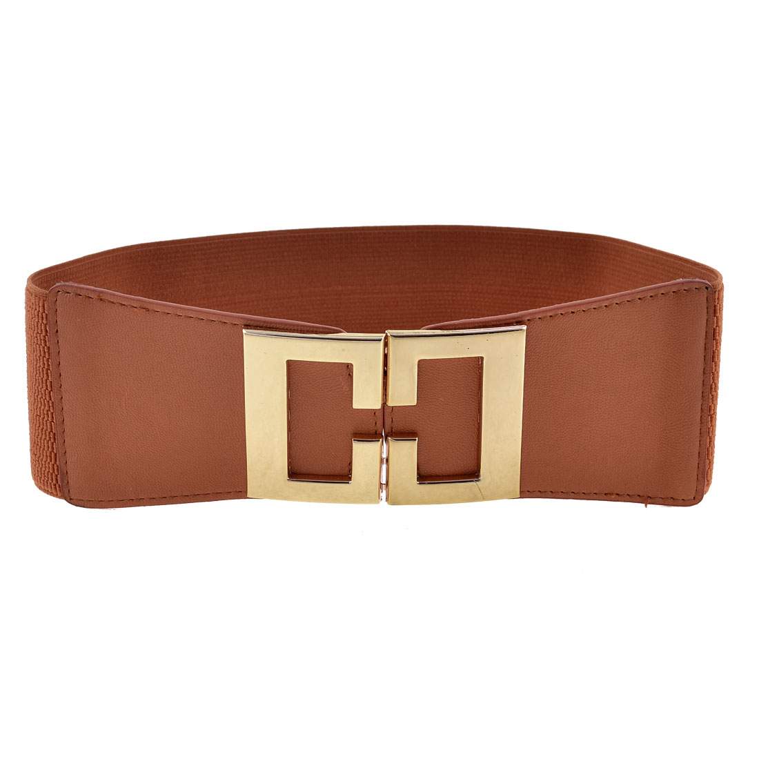 Lady Mirror Polish Interlock Buckle Faux Leather Stretchy Waistbelt Belt Brown