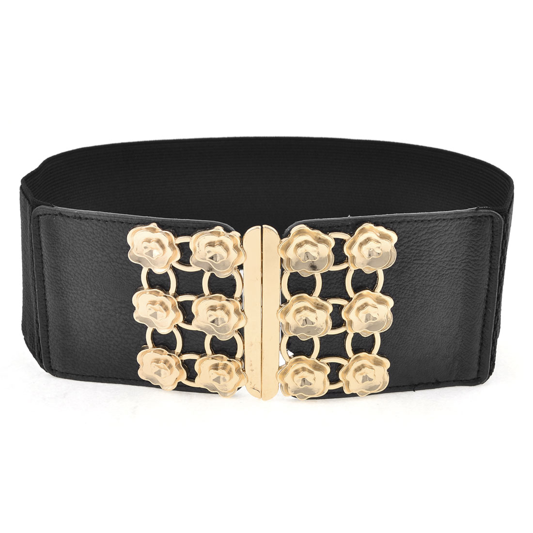 Lady Black Gold Tone Interlocking Buckle Rose Flowers Accent Stretchy Wide Waist Belt