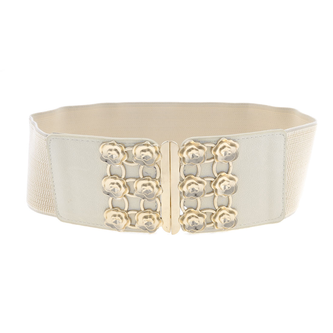 Women Interlocking Closure Rose Flowers Decor Elastic Waistband Waist Belt Khaki