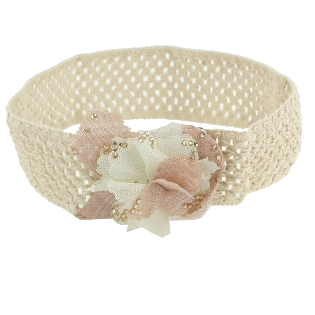 Lady Pink Beige Flower Detail Press Stud Button Hollow Out Elastic Waistband Cinch Belt