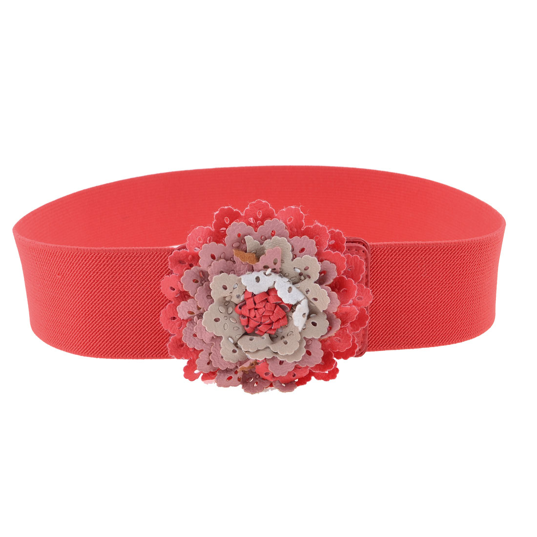 Press Stud Button Brick Red Faux Leather Flower Detail Stretchy Waist Belt for Lady