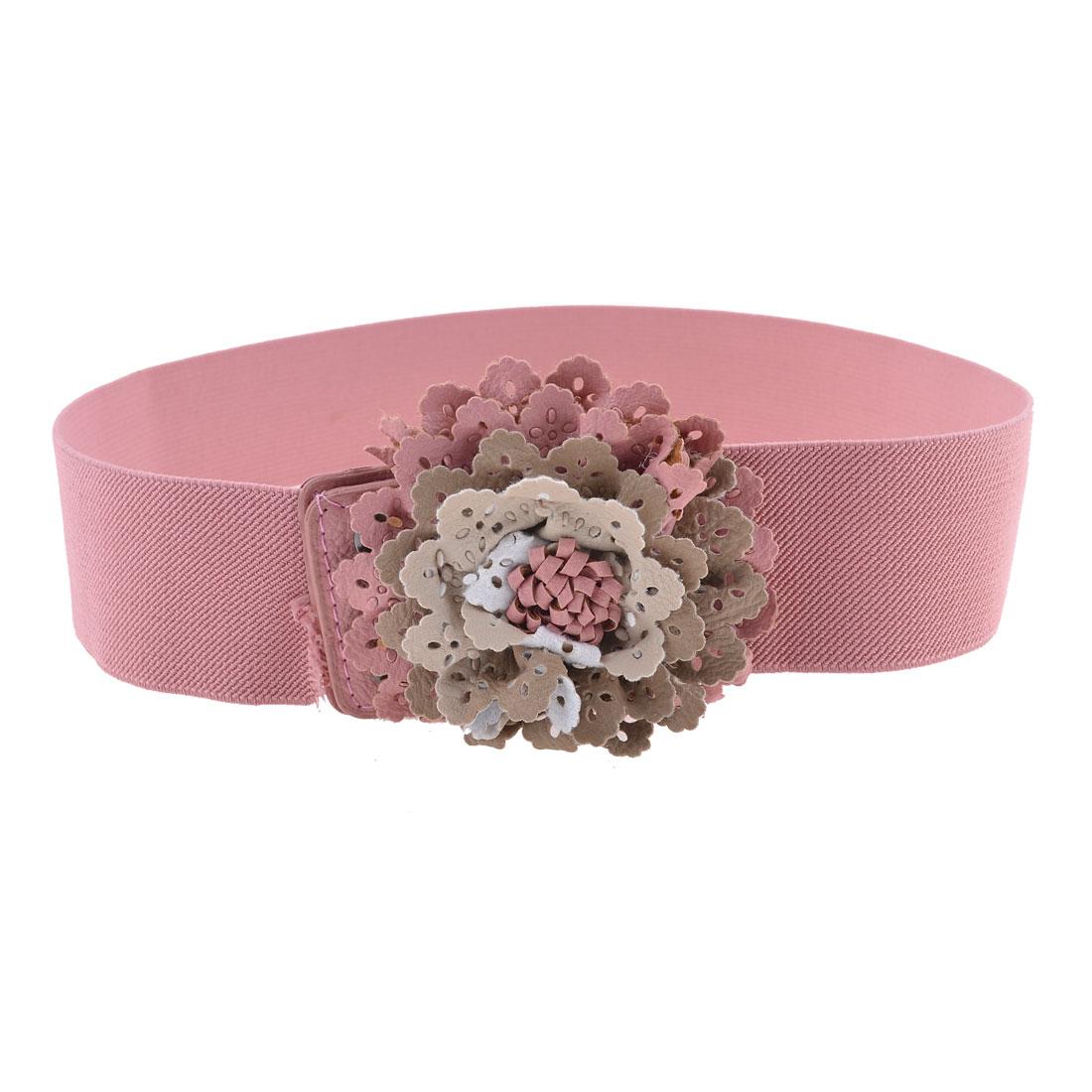 Women Pink Faux Leather Flower Decor High Waistband Cinch Belt 5cm Width