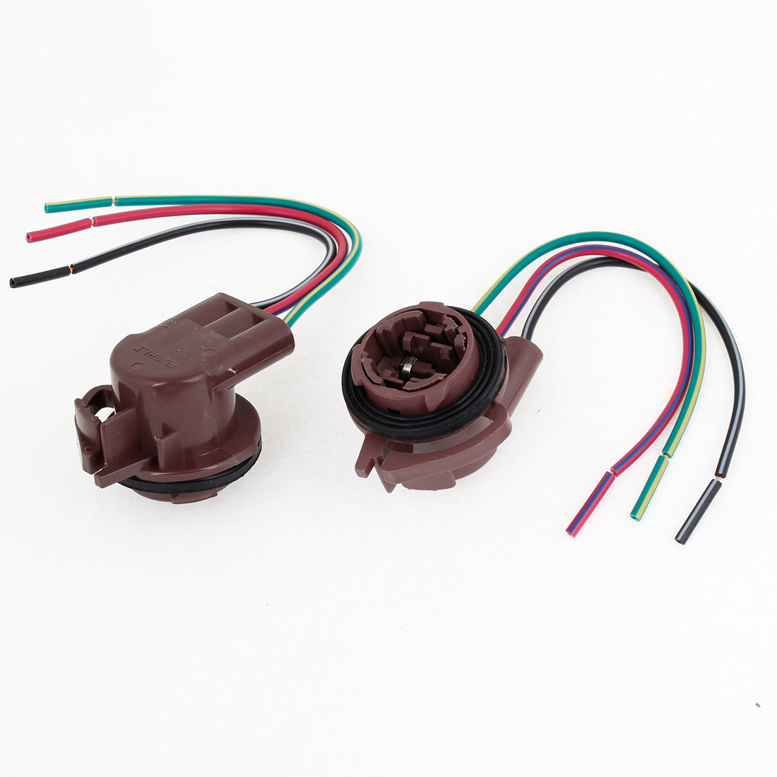 2PCS Burgundy Plastic 3157 Type Three Wired Auto Car Light Socket Connector