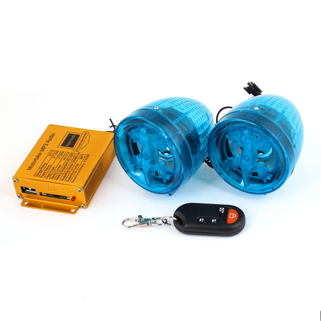 Motorcycle Stereo Amplifier Clear Blue Tapered Plastic Audio MP3 Speakers 2pcs