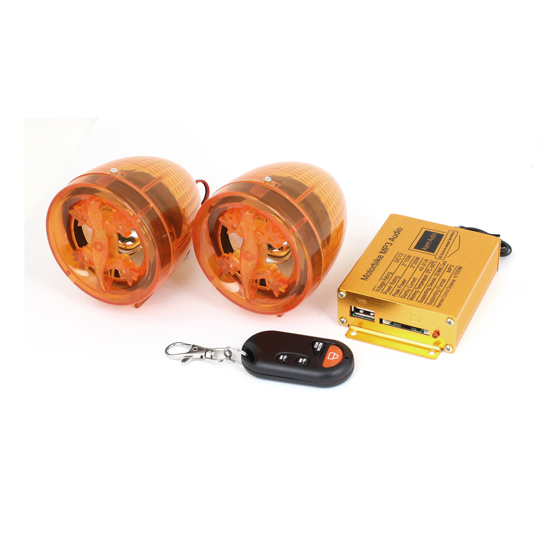 Motorcycle Sound Syestem Amplifier MP3 Audio Speaker Harness Clear Orange 2 Pcs