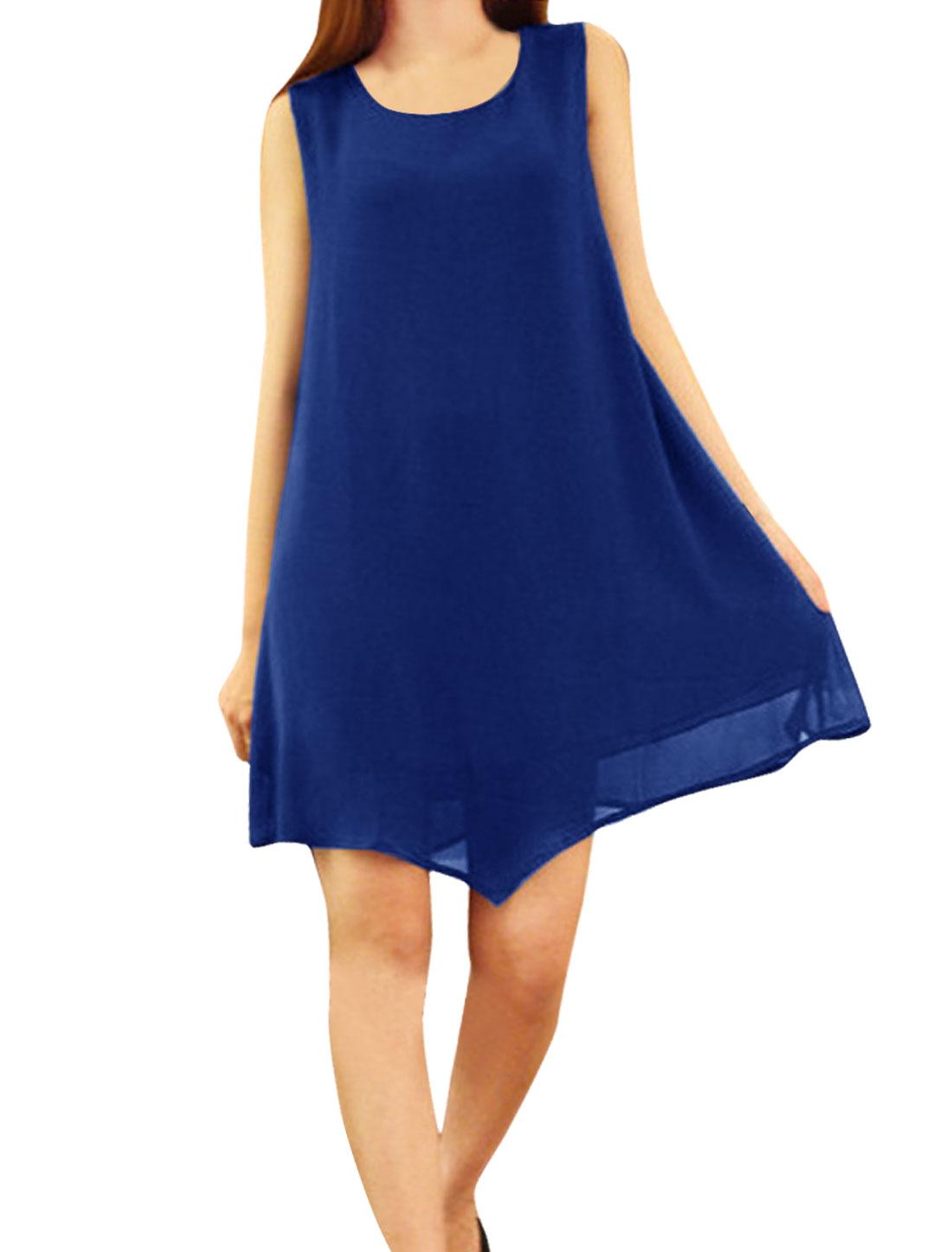 Ladies Irregular Hem Elegant Above Knee Chiffon Dress Royal Blue XS
