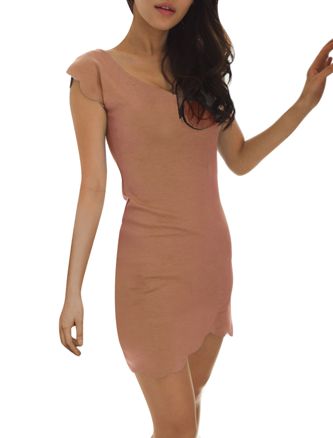 Women Pink Cap Sleeve Hip Tight Round Neck Pure Summer Dress Xs