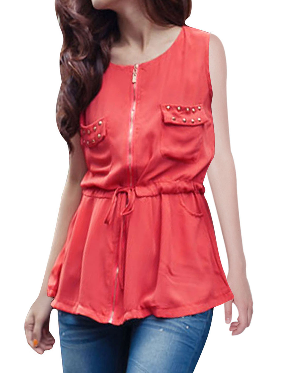 Women Watermelon Red Round Neck Sleeveless Chest Pockets Zip Shirt S