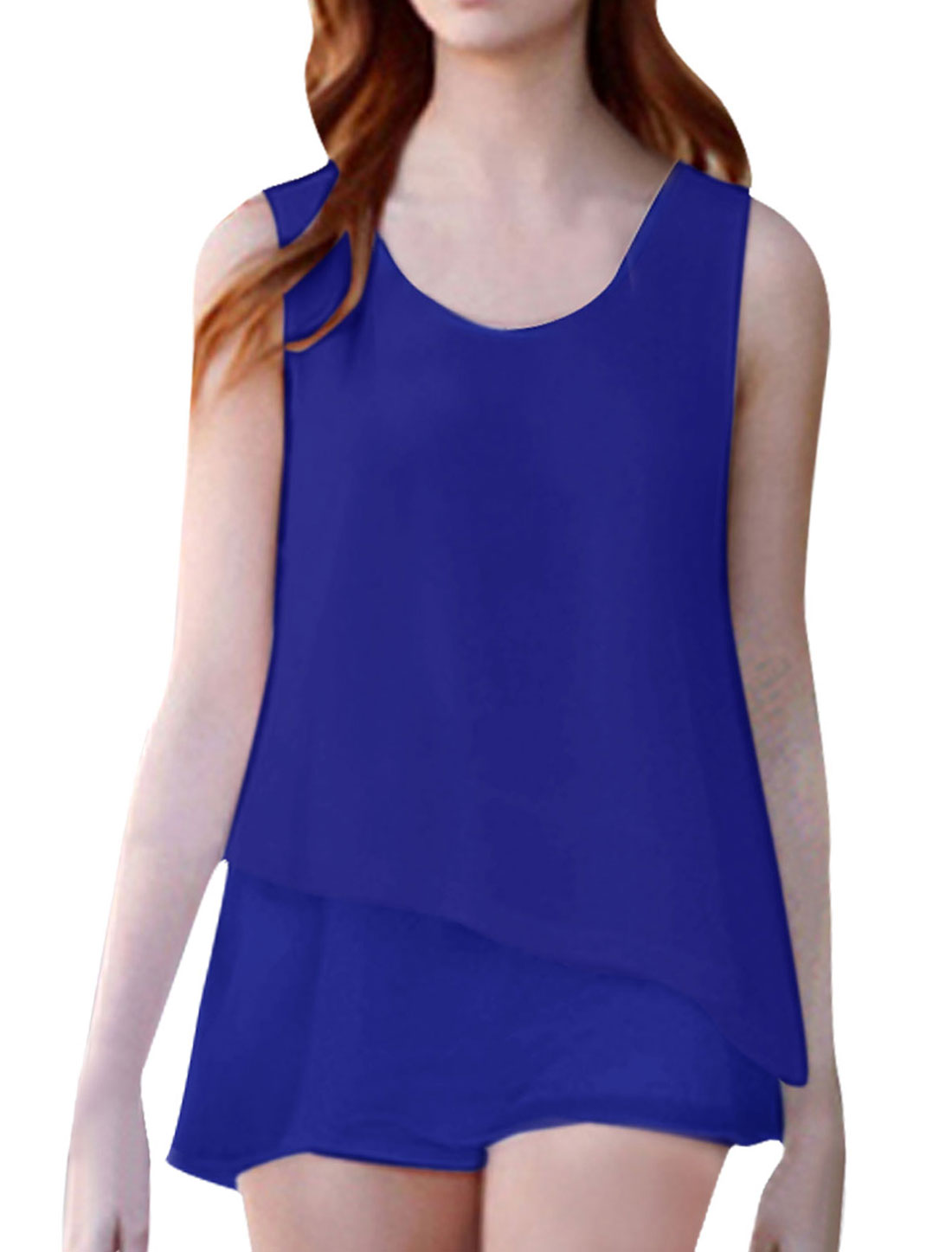 Woman New Fashion Round Neck Sleeveless Lined Royalblue Chiffon Tunic Tops S