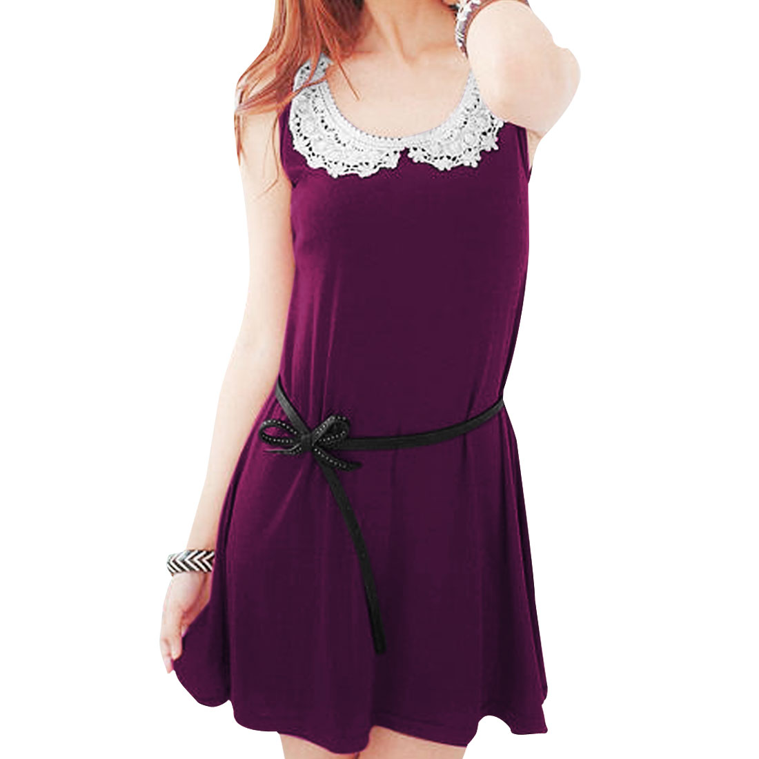 Ladies Round Neck Sleeveless Crochet Decor Dress Wine Color XS