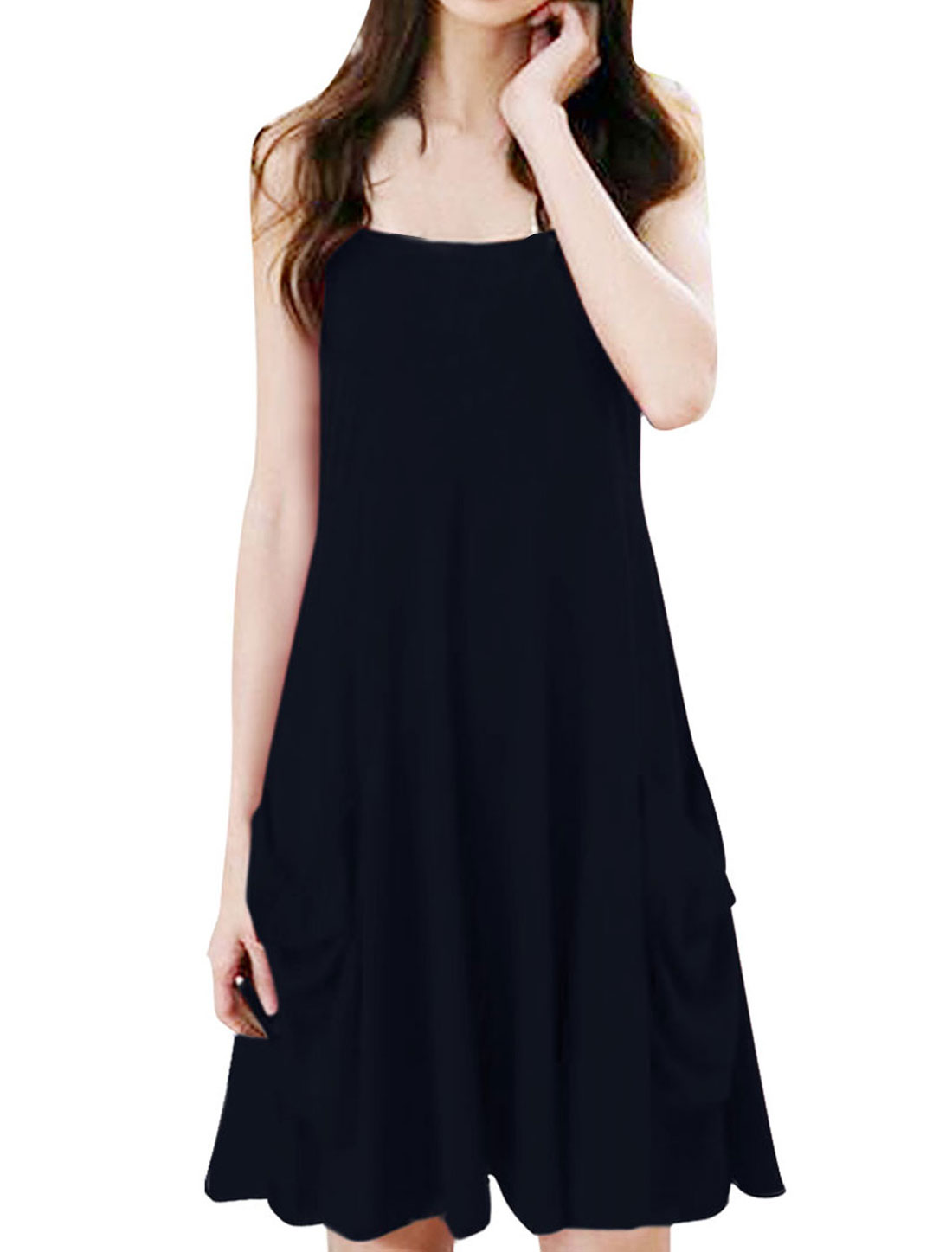 Ladies Adjustable Strap Pullover Sleeveless Pockets Below Dress Navy Blue XS