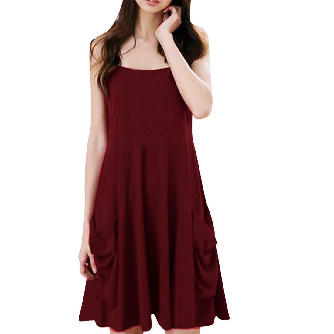 Ladies Adjustable Strap Off The Shoulder Pockets Below Dress Burgundy XS