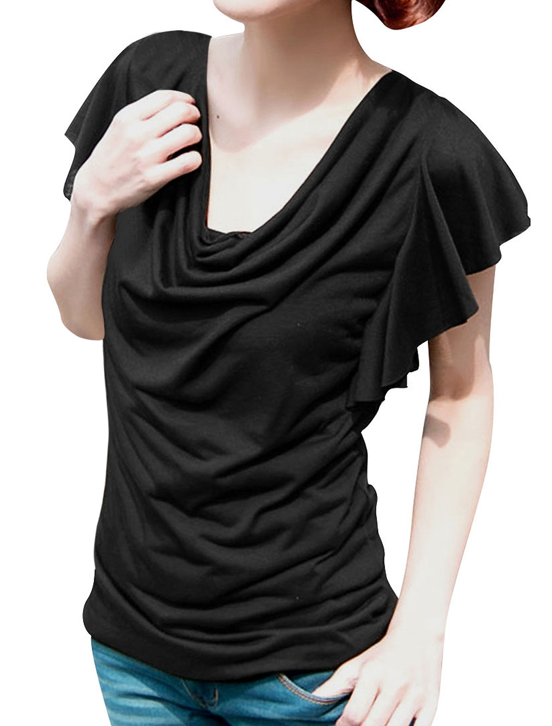 Ladies Korea Style Cowl Neck Ruffled Sleeved Pure Black Casual Shirt XS