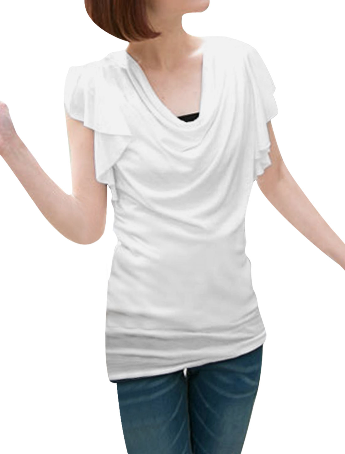 Lady Stylish Cowl Neck Ruffled Sleeve Design Pure White Summer Shirt XS