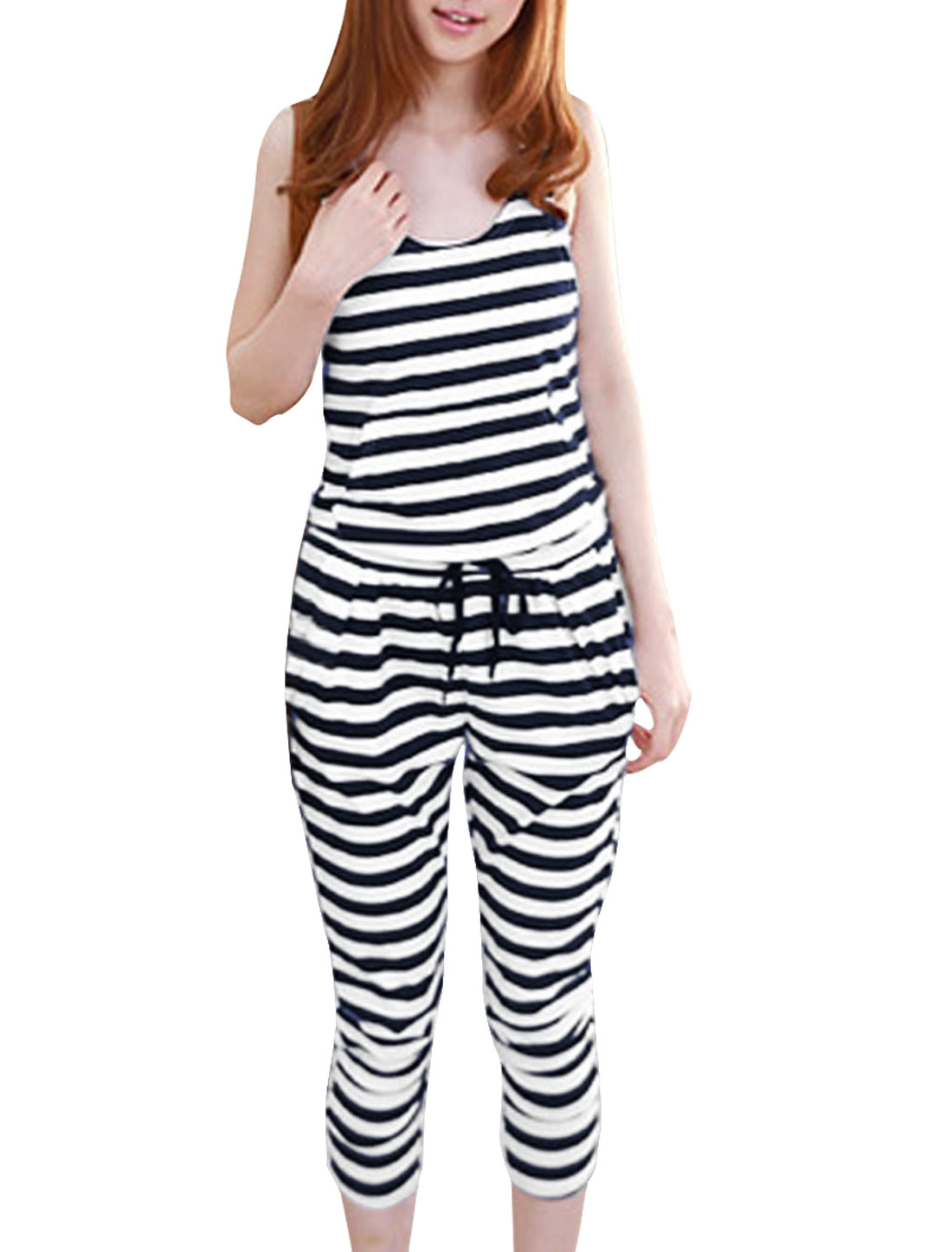 Lady Dark Blue White Sleeveless Stripes Pattern w Pockets Jumpsuit XS