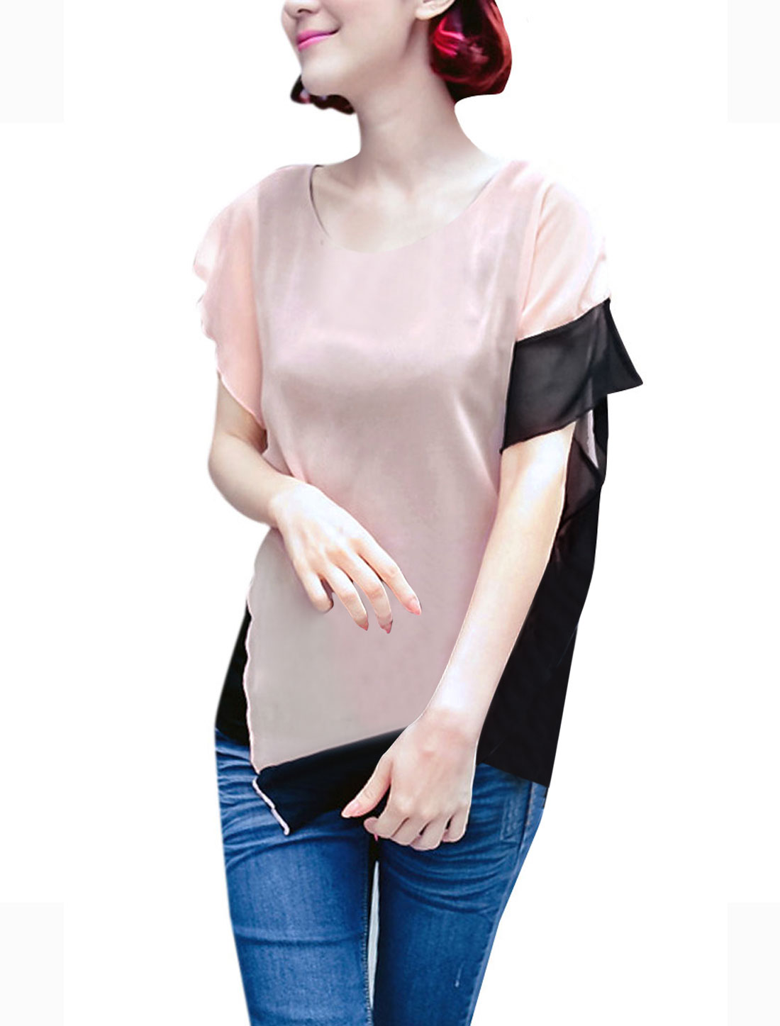 Ladies Fashion Round Neck Sleeveless Splice Irregular Hem Light Pink Tops XS