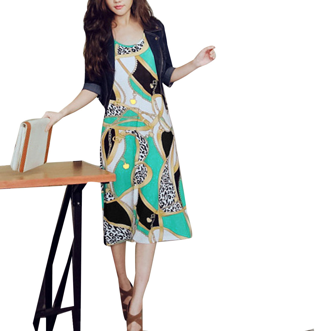 Women Sleeveless Style Round Neck Round Hem Casual Dress Multicolor Xs