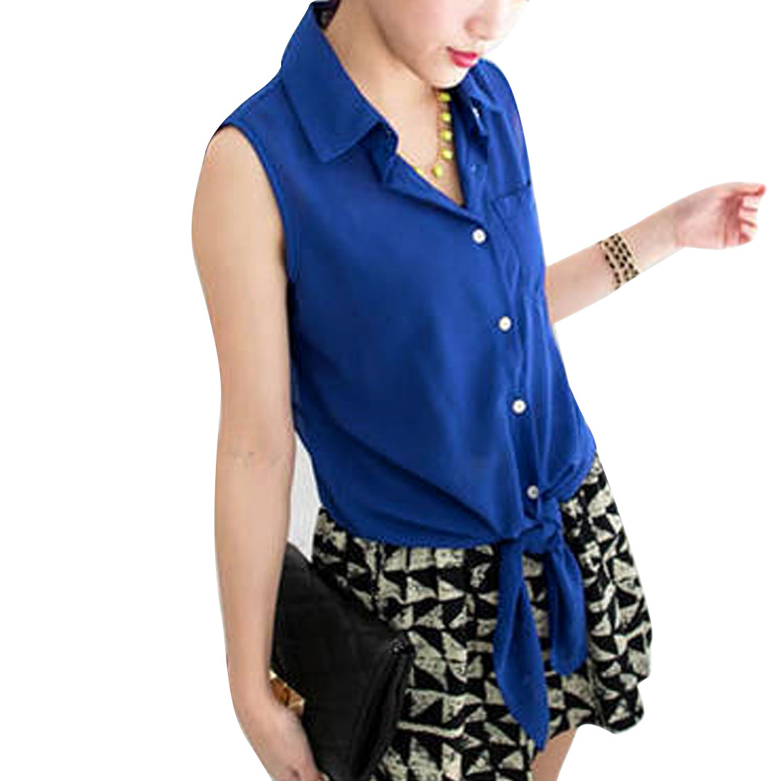 Ladies Point Collar Button Up Sleeveless Semi Sheer Top Shirt Royal Blue S