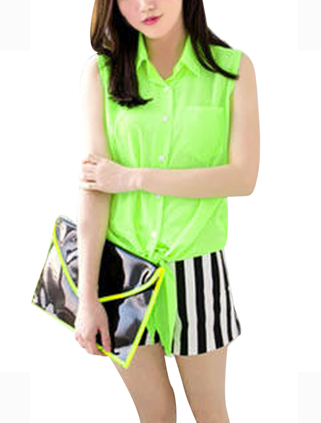 Ladies Point Collar Button Closure Sleeveless Chest Pocket Top Shirt Lime S