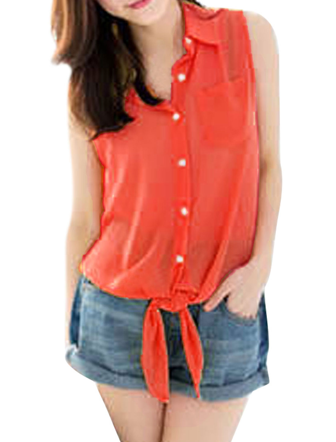 Ladies Point Collar Single Breasted Sleeveless Top Shirt Fluorescein Red S
