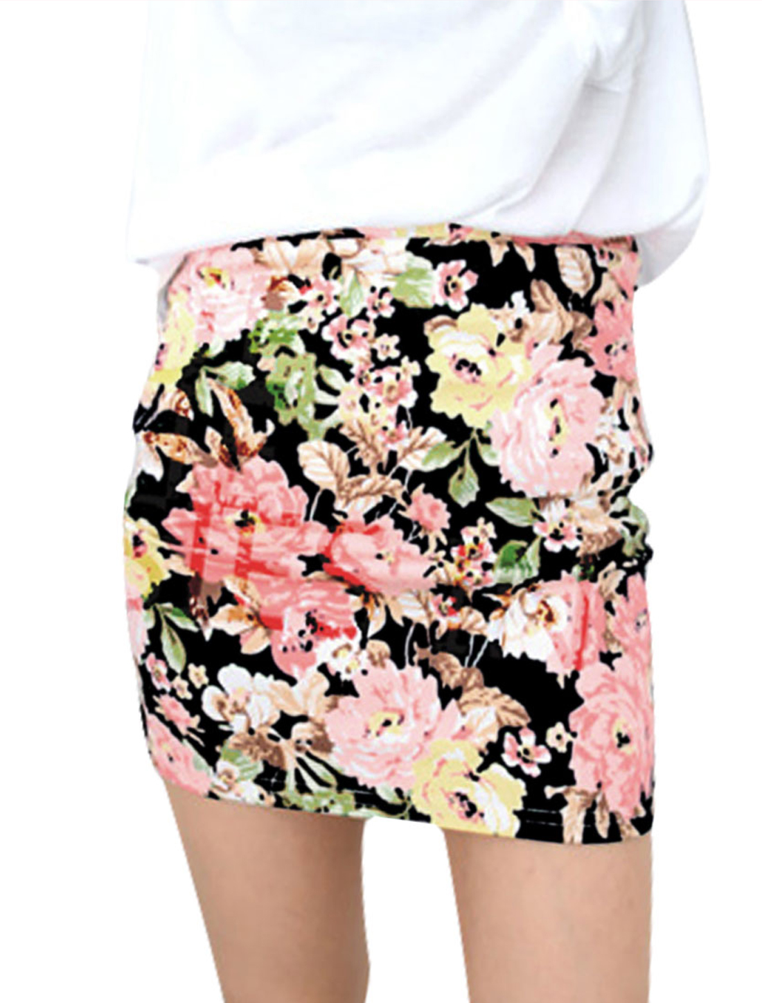 Girl's Floral Prints Elastic Waist High Waist Sexy Skirt Black XS