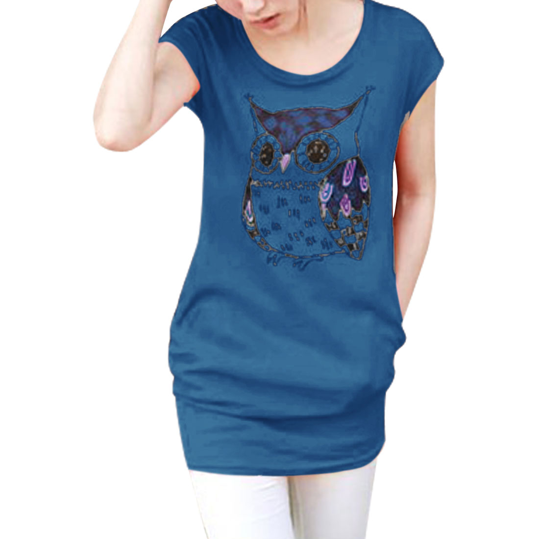 Ladies Round Neck Pullover Cap Sleeve Owl Prints Top Shirt Dark Blue XS