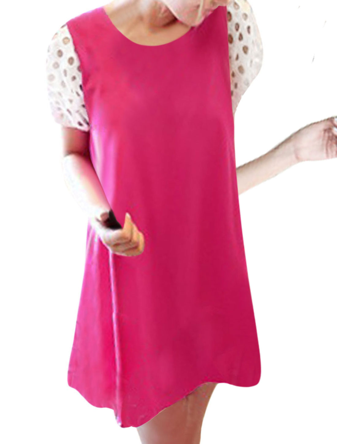 Lady Chic Short Cutout Splice Puff Sleeve Design Fuchsia Casual Mini Dress XS