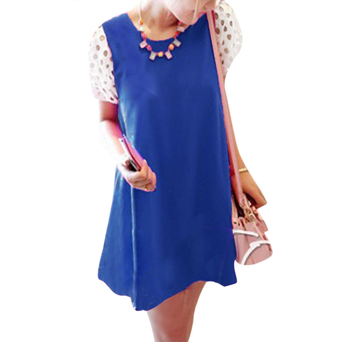 Ladies New Fashion Round Neck Cutout Short Puff Sleeve Royalblue Mini Dress XS
