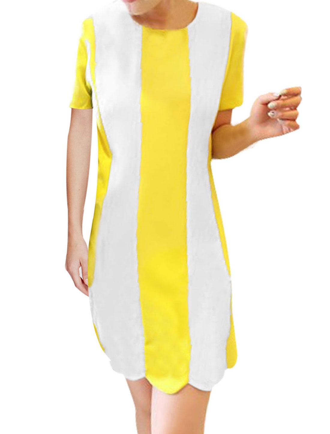 Woman Stripes Prints Zipper Above Knee Straight Dress Yellow White S