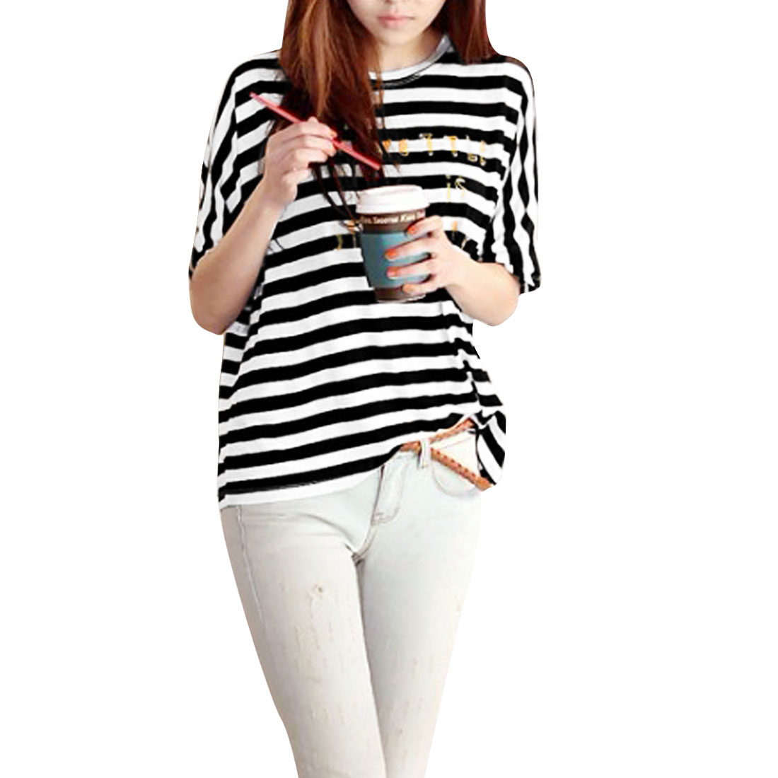 Lady Short Sleeve Pullover Black White Striped Loose Blouse M