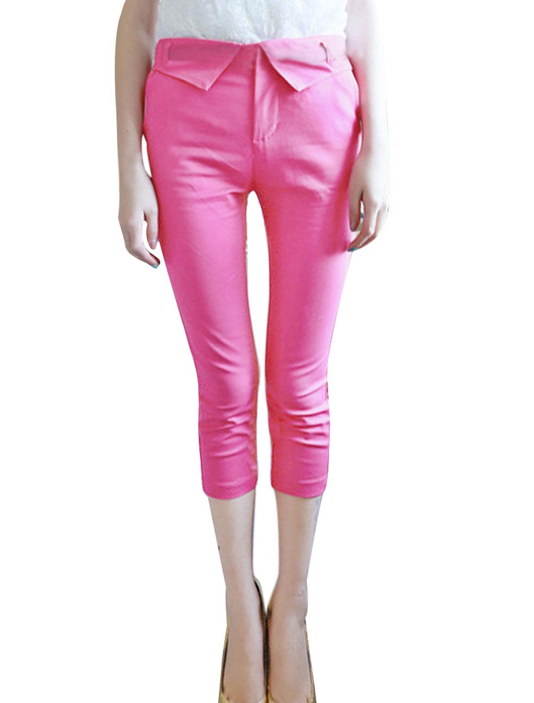 Ladies Waistband Loop Zip Closure Mock Hip Pockets Capris Pants Fuchsia XS