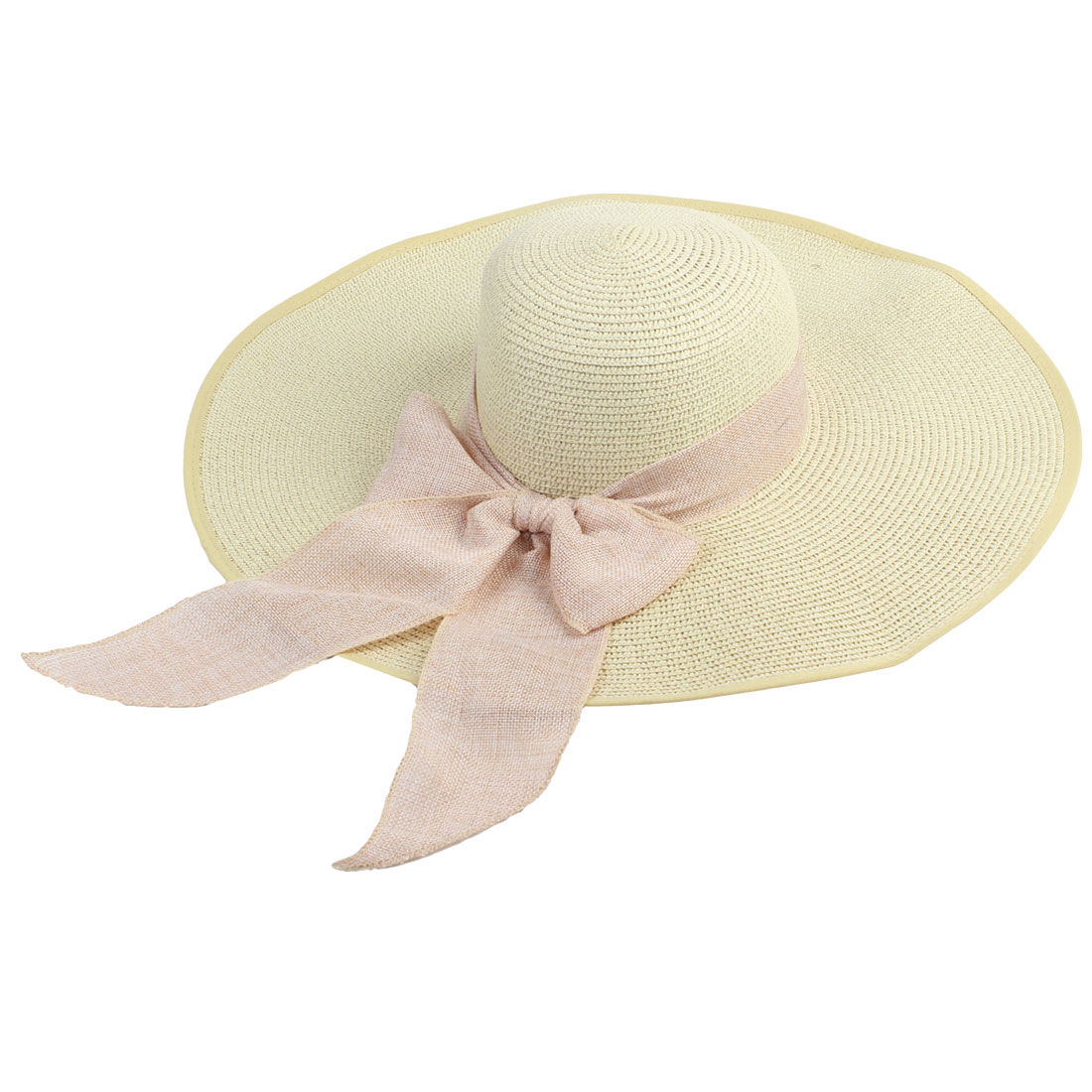 Summer Bow Tie Band Decor Straw Beach Sun Hat Beige for Ladies