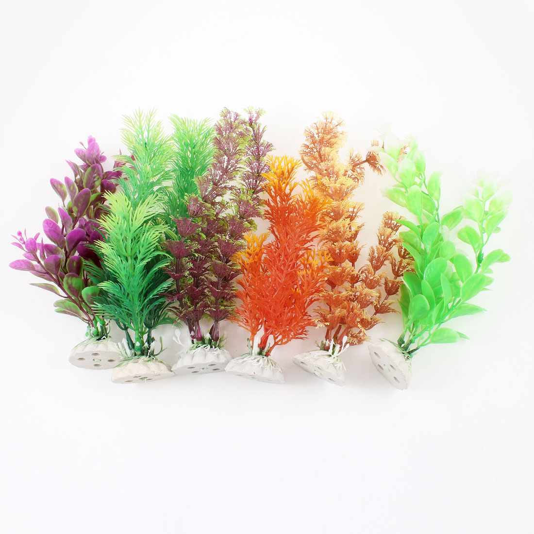 6 Pcs Assorted Color Artificial Plastic Leaves Plant Decoration for Aquarium
