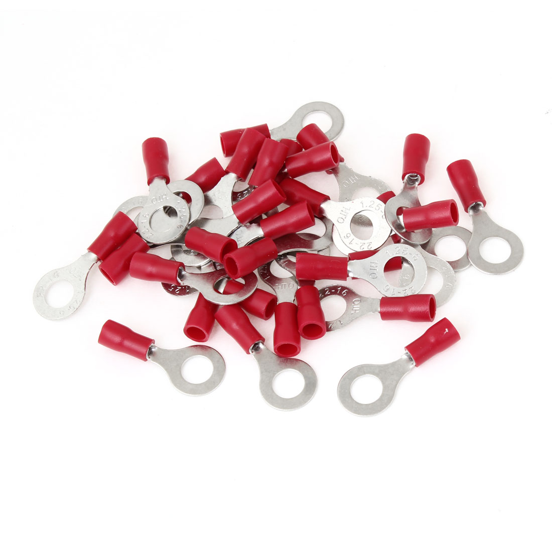RV1.25-6 Red PVC Sleeve Insulated Ring Tongue Terminals 30 Pcs