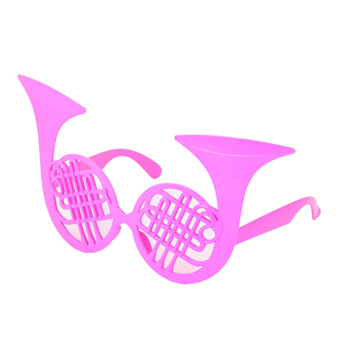 Women Saxophone Shape Cosplay Party Halloween Eye Mask Glasses Fuchsia