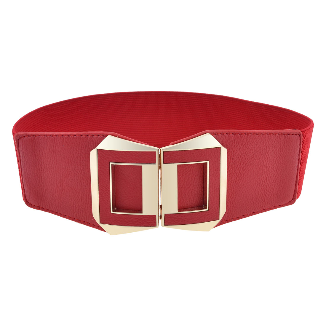 Women Double D Shaped Interlock Buckle Elastic Band Cinch Belt Red