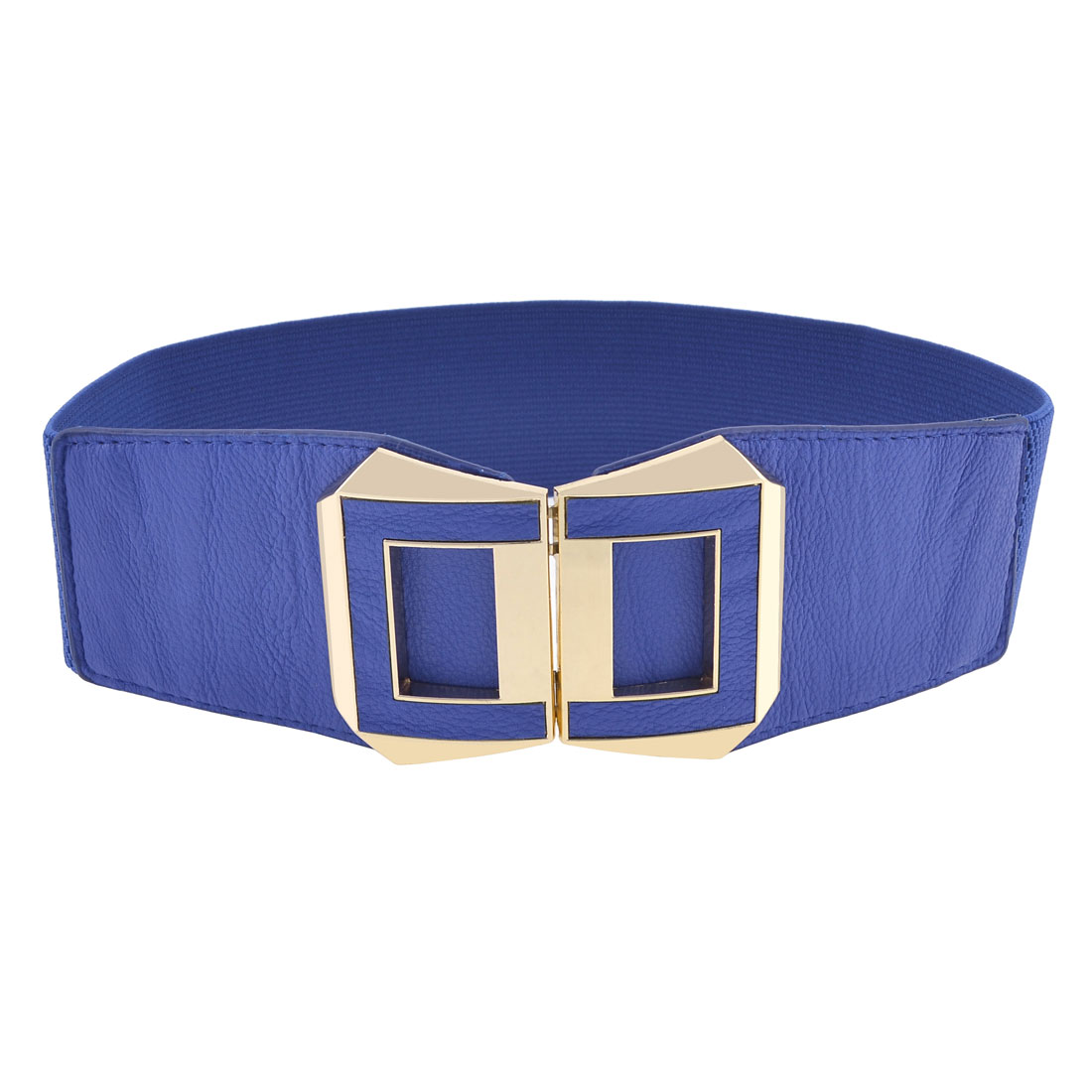 Woman Blue Double D Shaped Interlock Buckle Elastic Band Cinch Waist Belt