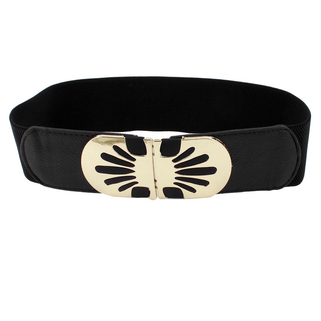 Ladies Two Tone Interlock Buckle Textured Stretch Stretchy High Waist Belt Black