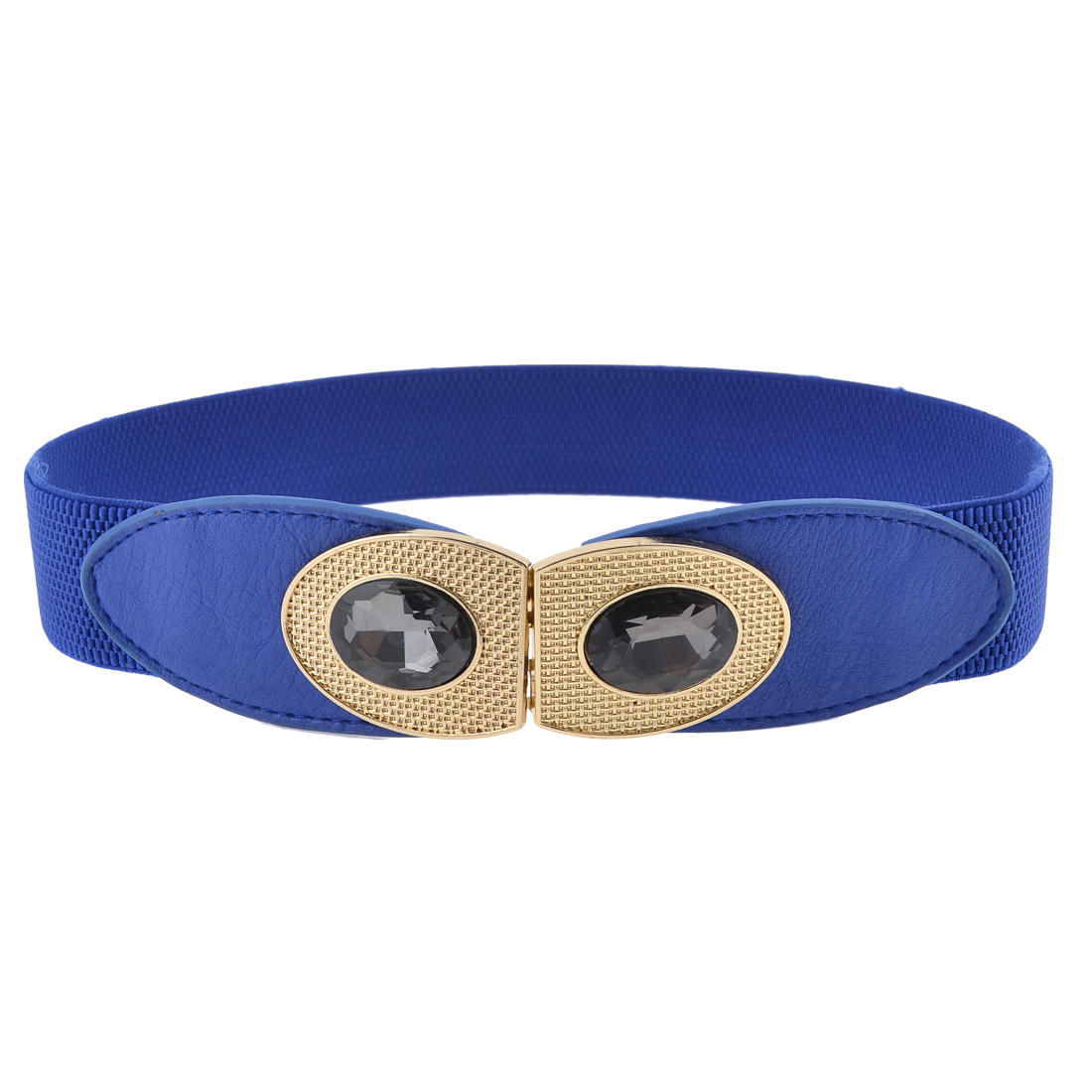 Lady Faux Cystal Decor Double O Shape Interlocking Buckle Stretchy Cinch Belt Blue