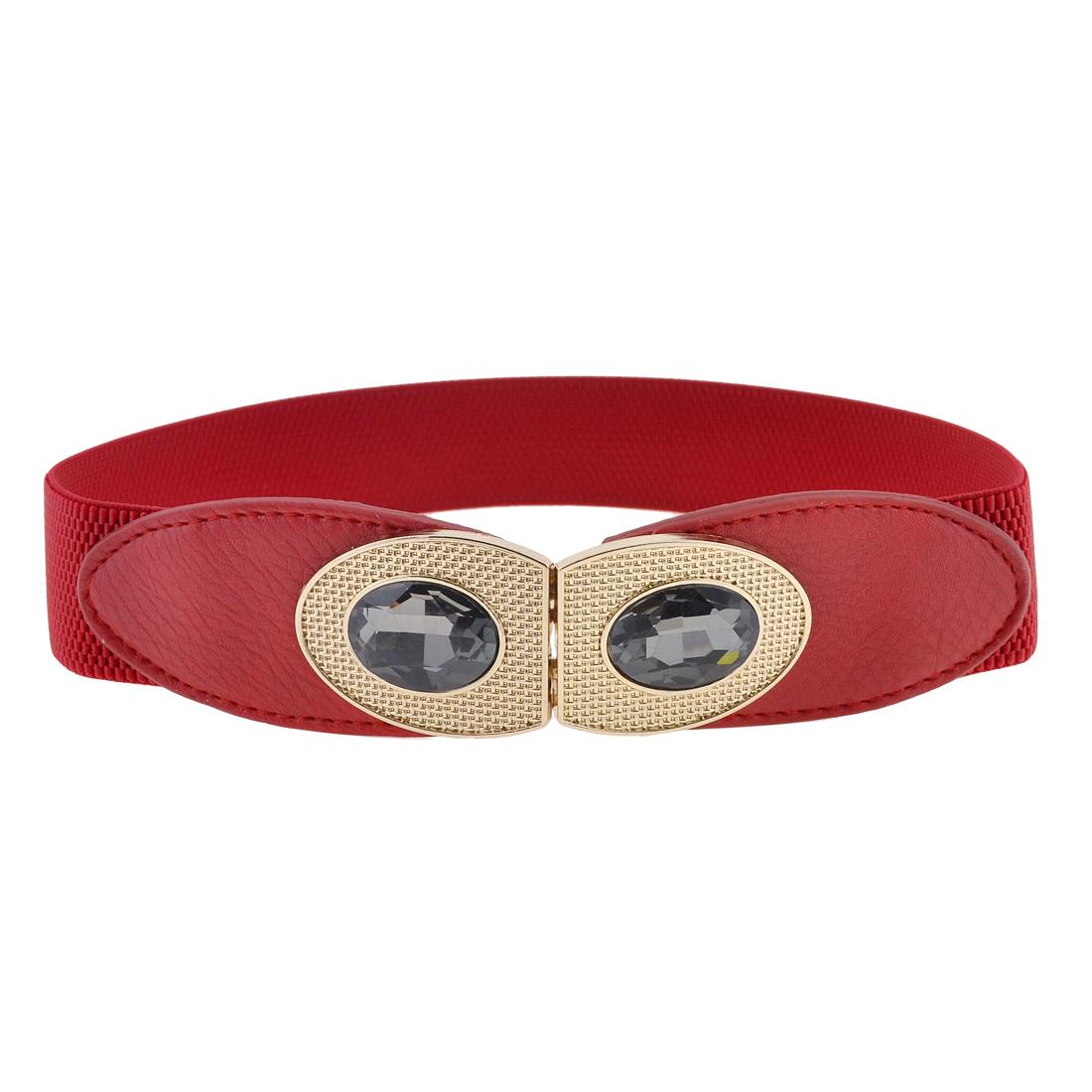 Lady Faux Cystal Detal Eye Shape Interlocking Buckle Red Stretchy Cinch Belt