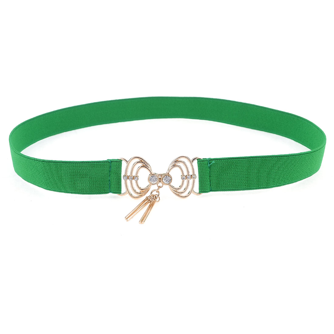 Lady Green Shell Design Interlock Buckle Elastic Cinch Belt