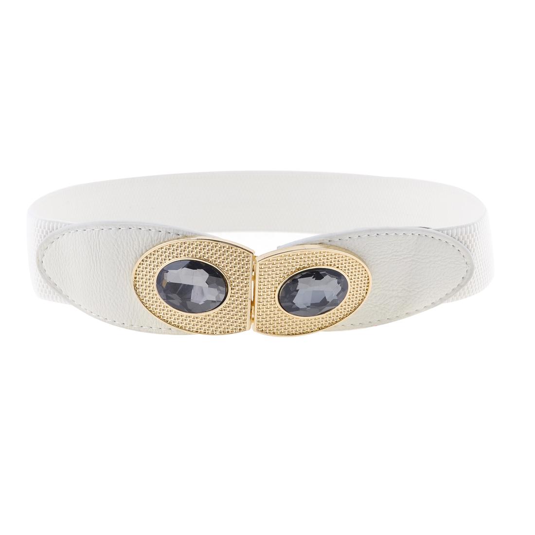 Lady Plastic Cystal Decoration Interlocking Buckle White Stretchy Cinch Belt