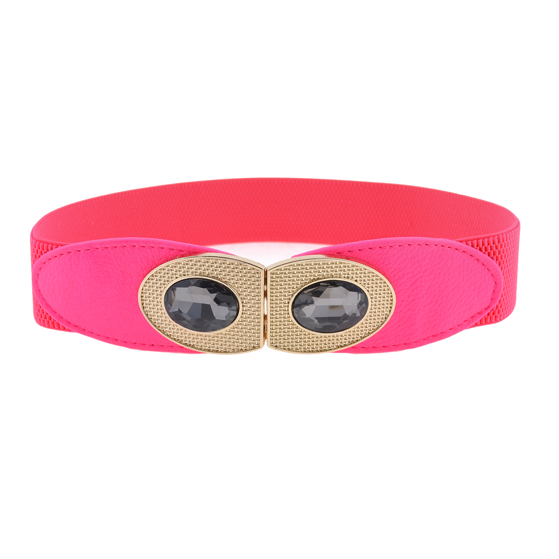 Lady Plastic Cystal Decor Eye Shape Interlocking Buckle Stretchy Cinch Belt Fuchsia