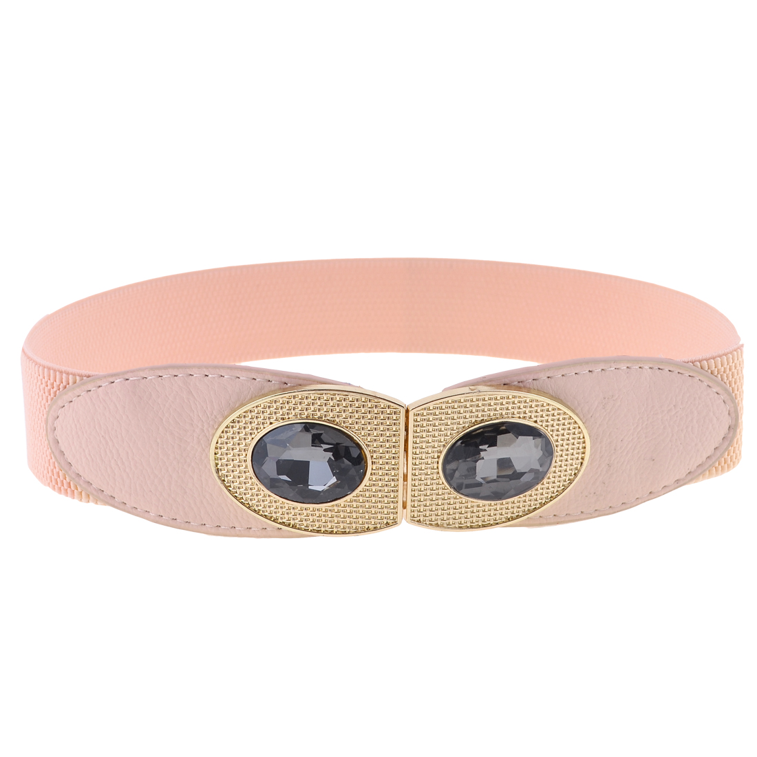 Lady Pink Faux Cystal Acent Eye Design Interlocking Buckle Stretchy Cinch Belt