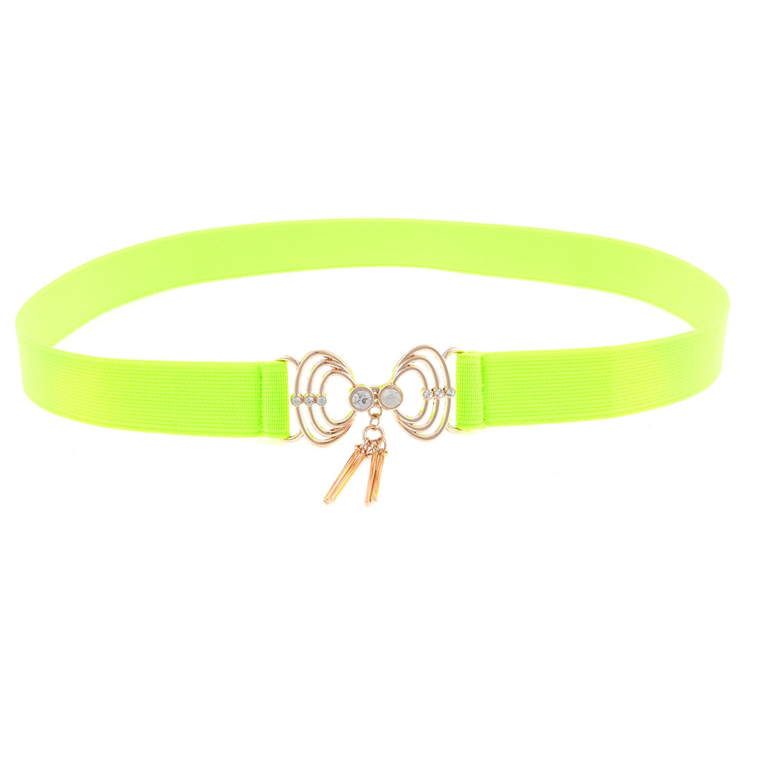 Lady Yellowgreen Shell Design Interlock Buckle Elastic Cinch Belt